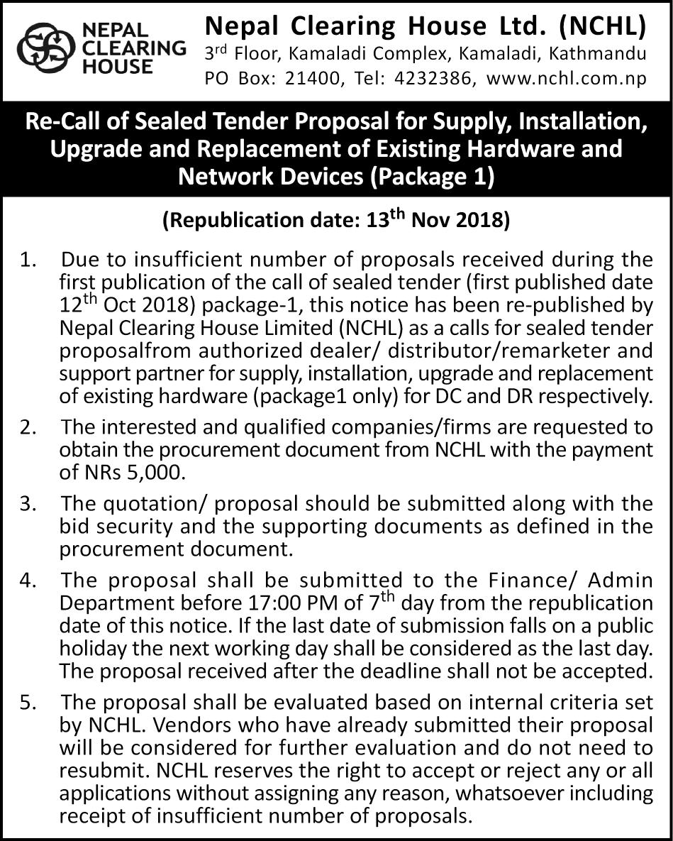 tender notice for n/w device republish