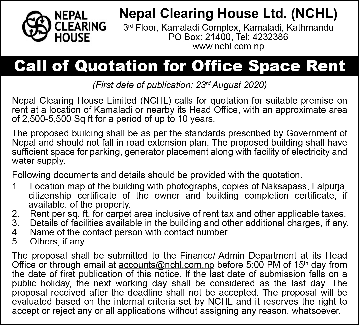 Call of Quotation for Office Space Rent [Expired]