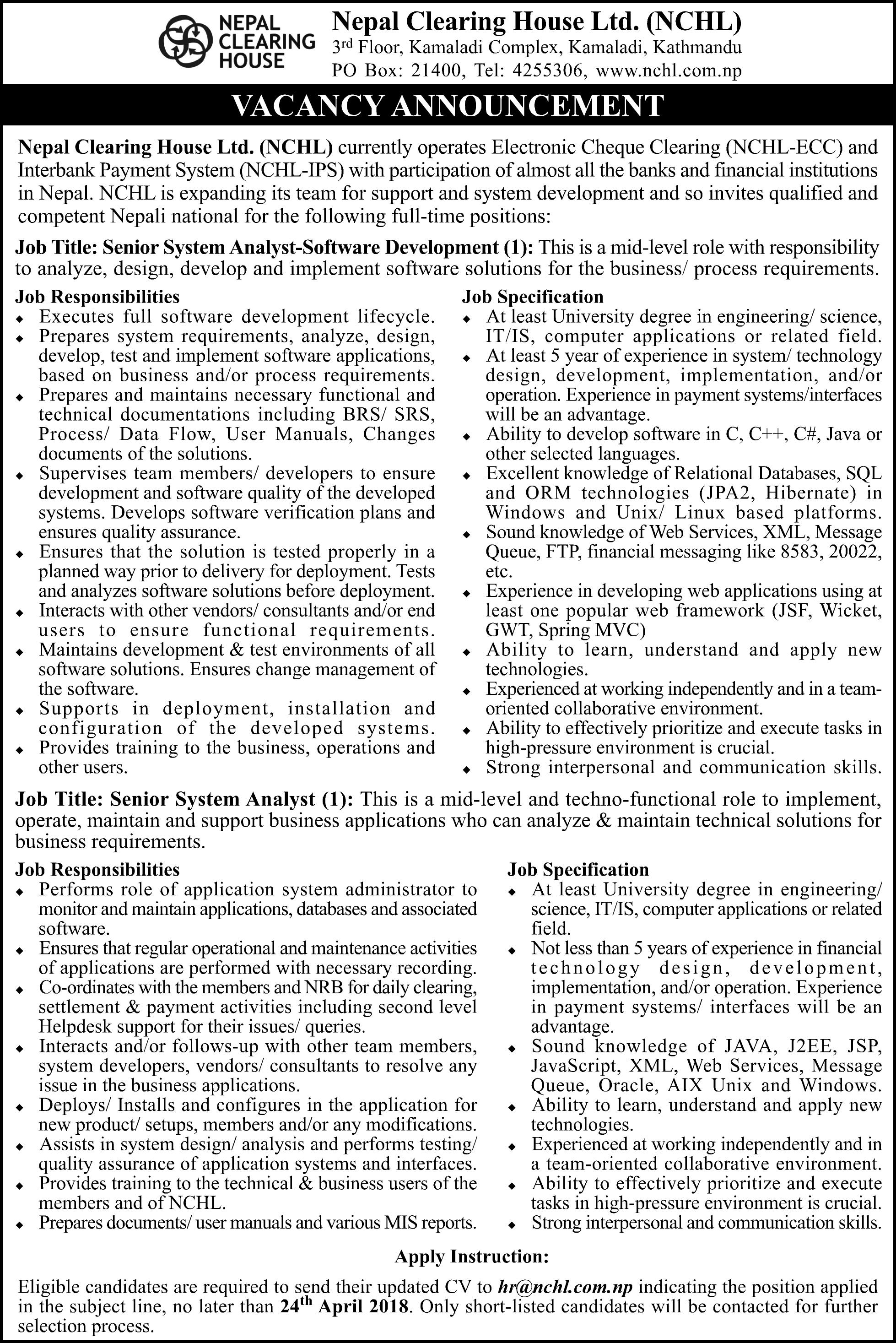 Vacancy Announcement (04/04/2018)